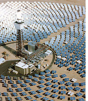 A concentrating solar power (CSP) array in Barstow, California
